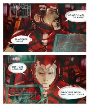 MarvelXPacificRim Tony n Jarvis by Brilcrist