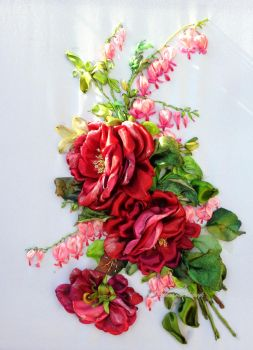 Red roses, silk ribbon embroidery by TetianaKorobeinyk