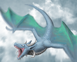 Blue Dragon in the Clouds by LauraRamirez