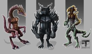 Dragon men character designs by megapowerskills
