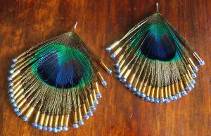 peacock feather earrings by Craftcove