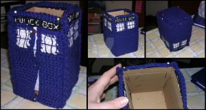 Crocheted TARDIS - WIP 3 by PaisCharos