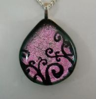Pink Swirls Dichroic Pendant by poisons-sanity