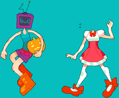 tv girl and pumpkin girl by catapultingcupcakes