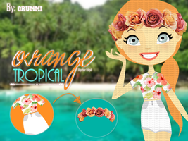 Orange Tropical: Conjunto Para Doll by Grummi