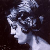 Elegance, black and white oil study by crystalcookart
