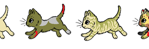Sandpelt, Greenseed, Desertstorm, and Mottledheart by AshurasDaughter