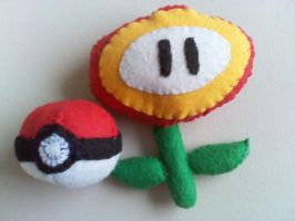Poke'ball and Fire Flower by mirageant