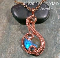 Dark Labradorite and Copper Coriolis Pendant by HeatherJordanJewelry