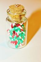 Jar of Green and Red Candy Canes by CharmStop
