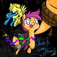 Scootaloo the Adventurer hits the 1000 followers! by alskylark