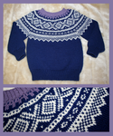 Childs blue Marius fair-isle sweater by KnitLizzy