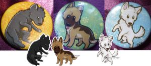 German Sheperd Buttons by RonTheWolf