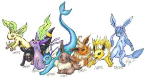 Eeveelutions by KujakuSilverdragon