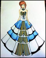 blue and silver ball gown by BethzAbonitz