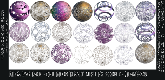 Mega png Pack - Orb Moon Planet mesh Fx -  AdamF-x by ArtwithoutabrushFx