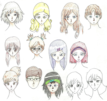 Diffrent faces and hairstyles by ZainebS