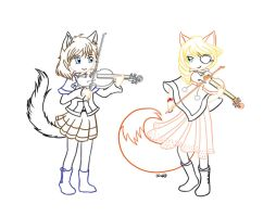 Violin Duet w/ Fujin No Mai (Lineart WIP) by tweepy