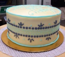 Gray and teal cake by MooreCake