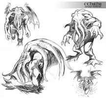 Cthulhu sketches by NathanRosario