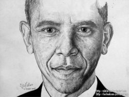 Barack Obama Graphite Portrait - WIP 2 by inhibitus