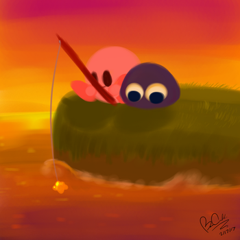Fishing in the Sunset by Screeadee