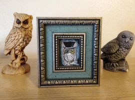 Owl in Top-Hat - Framed Acrylic painting -for sale by InkyDreamz