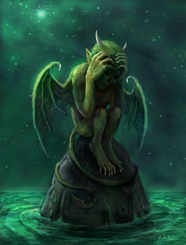 Lonely Demon iPad Painting by karichristensen