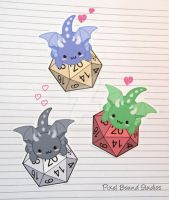 Chibi Dragon on d20 Stickers and Magnets by pixelboundstudios