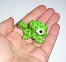 Micro Mini Chameleon Crochet Plushie by happysquidmuffin