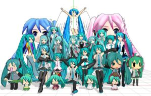 mmd-OMG LOOK HOW MANY MIKUS by Shioku-990