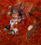 Rou playing in leaves by Bloodrou