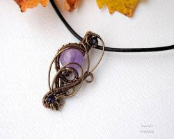 Amethyst wire wrapped pendant 2 by IanirasArtifacts