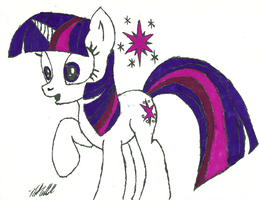 Twilight Sparkle, Hoof Drawn, Half Colored. by Ratchet-Wrench
