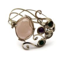 Wire Wrapped Braided Bracelet with natural stones by hyppiechic