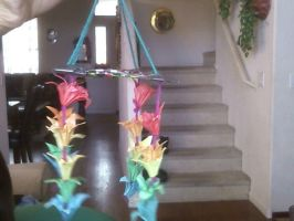 Rainbow Pastel Origami Hanging Flower Thing by PandaLuva1432