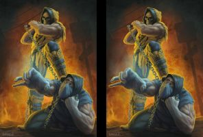 Scorpion and Sub-Zero again in 3D by jamqdlaty