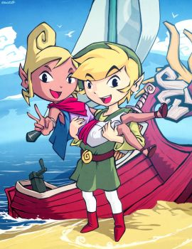 Wind waker - Tetra and Link by GENZOMAN