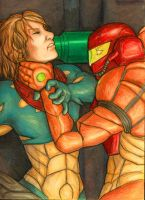 Metroid Fusion: Samus vs. SA-X by selie