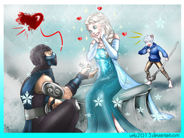 Sub-Zero Elsa and Jack, ah...O--O by Ueki2013