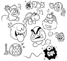 SAI Doodles - Late Night Mario Enemies by JamesmanTheRegenold