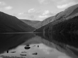 Glendalough Reflection BW by serel