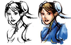 Chun Li Sketch by smallguydoodle