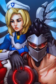 Overwatch Uprising - Mercy and Genji by FonteArt