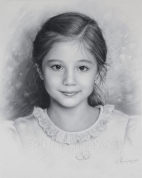 Child portrait, little girl by Dry Brush by Drawing-Portraits