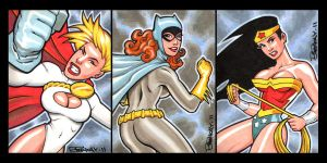 2 Girls 1 Woman Sketch Cards by BillMcKay