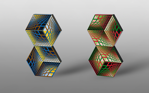 Inspired by Victor Vasarely - Cubes by Manshonyagger