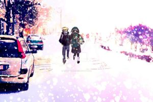 Walking in the snowing by LinoNatsumi