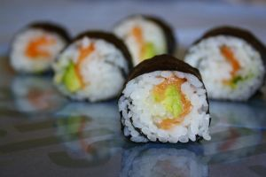 Salmon and Avocado Sushi by behindthesofa