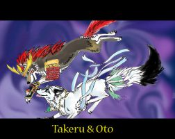 Takeru and Oto trade by DarkKotaWolf